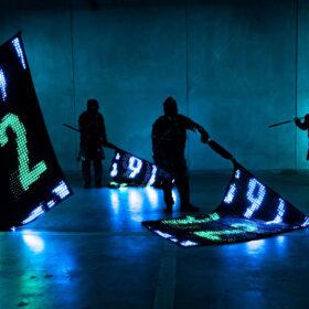 """【mplusplus自主開発PJ第二弾】ディスプレイのように制御可能な旗、""""LED VISION FLAG""""の画像"""